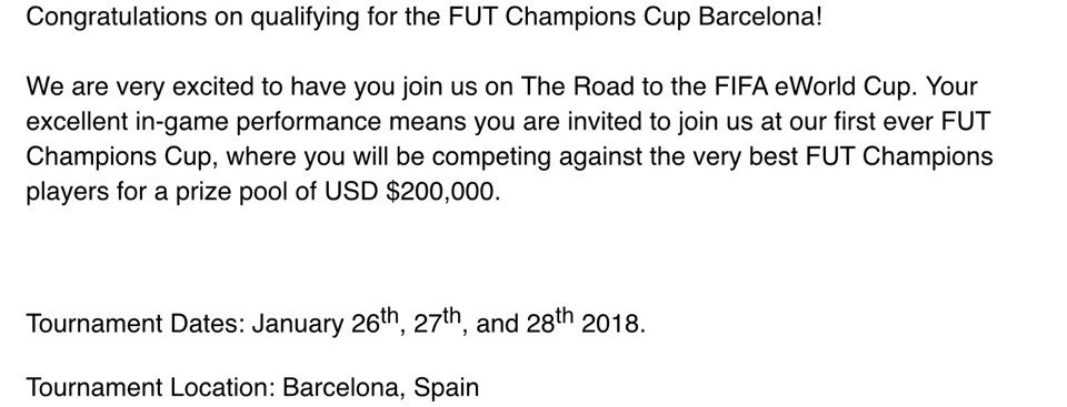 Приглашение на мажор турнир по FIFA 18, который пройдёт в Барселоне